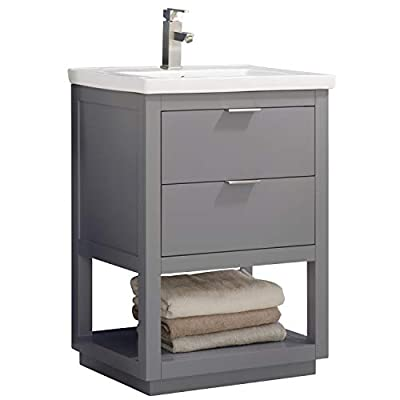 """LUCA Kitchen & Bath LC24GGP Sydney 24"""" Bathroom Vanity Set in French Gray with Integrated Porcelain Top"""