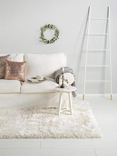 benuta Shaggy Hochflor Teppich Lea Weiß 140x200 cm | Langflor Teppich für Schlafzimmer und Wohnzimmer