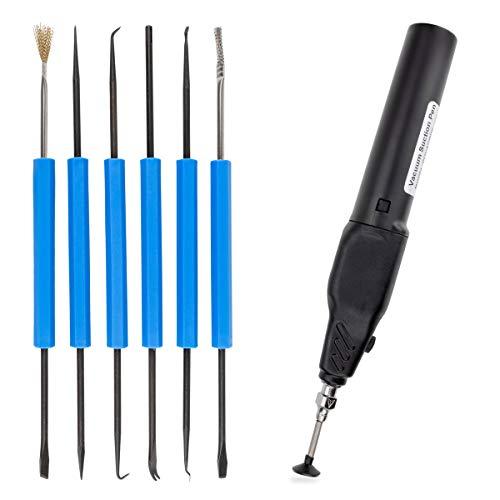 GALLUNoptimal Lötbesteck LB6 6-teiliges Lötwerkzeug mit 9 unterschiedlichen Werkzeugen (+ Bauteilplatzierstift)