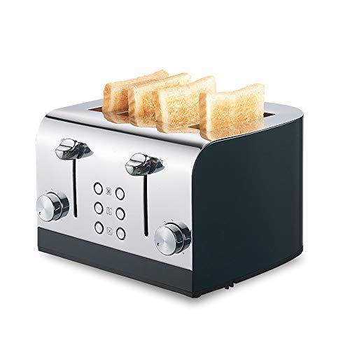 YFGQBCP Tostadora 4 rebanadas Inicio multifunción automática de Acero Inoxidable Control máquina de Desayuno Herramienta de Cocina (Color : Silver)