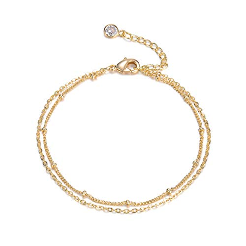 Beads Dainty Anklet Women,14K Gold Plated Dainty Cute Summer...