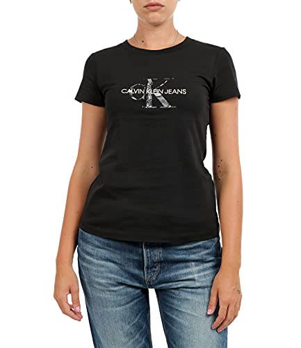 Calvin Klein Jeans Seasonal Filled Monogram tee Camiseta, CK Black/Reptile, XL para Mujer