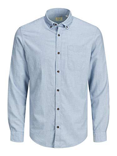 JACK & JONES Herren Jjeclassic Melange Shirt L/S Au20 Sts Hemd, Infinity, M EU