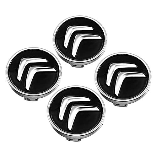 BAQIU 4 Piezas 60 mm Tapa Central de Rueda de aleación Negra Tapas de Cubo de Rueda compatibles para Citroen C4 Picasso C3 Berlingo C5 X7 C2 C1 Ds3 ZX Xsara C8 DS DS4