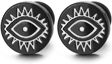 10MM Stainless Steel Black White Evil Eye Circle Stud Earrings for Men Women Screw Back 2pcs product image