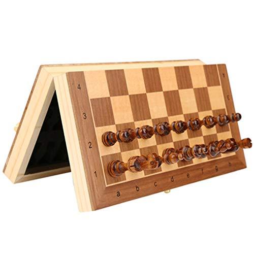 Schach Schachkinder Studentenanfänger Magnetische Massivholz High-End-tragbares erwachsenes großes faltendes Schachbrett mit Büchern Für Kinder und Erwachsene ( Color : Photo Color , Size : Medium )