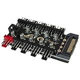 GiDan PWM - Controlador de ventilador, hub/divisor para ventiladores de 4 pines y 3 pines, 10 ventiladores, control de velocidad, ventilador de PC, alimentación Sata (Sata)