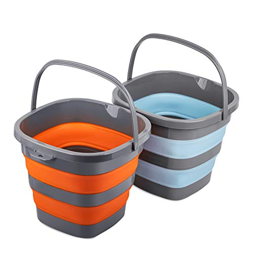Collapsible Plastic Bucket with 2.6 Gallon (10L) Each, Foldable Rectangular Tub for House Cleaning, Space Saving Outdoor Waterpot for Garden or Camping, Portable Fishing Water Pail (Blue & Orange)