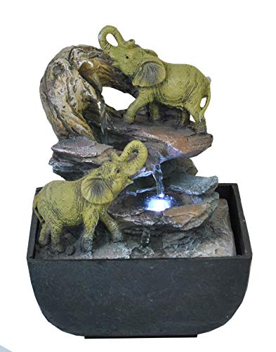 Creative Touch Elephant Oasis Indoor Water Fountain with LED Light | Size...