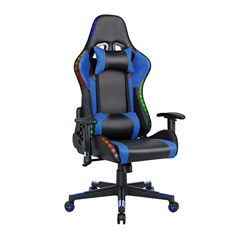 Gaming Chair with Speakers Video Game Chair with RGB Light Recliner Computer Chair Swivel E-Sports Chair with Headrest Armrest Lumbar Support, Blue
