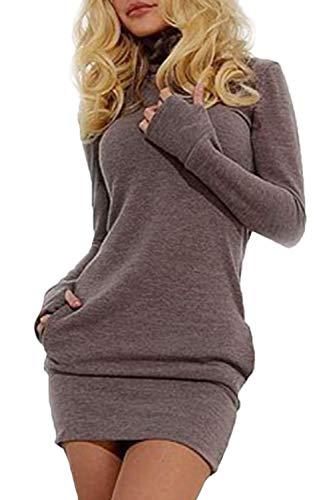 Las Mujeres En Otoño Sudaderas Vestido Casual De Largas Mangas Cuello Alto Especial Estilo Slim Fit Pullover Camiseta Vestidos Otoño Invierno (Color : Grau, Size : L)
