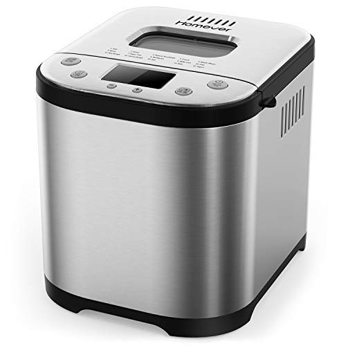 Homever Bread Maker [2019 Upgraded] - Automatic 2LB Bread Machine with Sugar Free Setting, Fully Stainless Stee Bread Maker (15 Programs, 3 Sizes & 3 Colors, 15 Hours Delay Timer, 1 Hour Keep Warm)