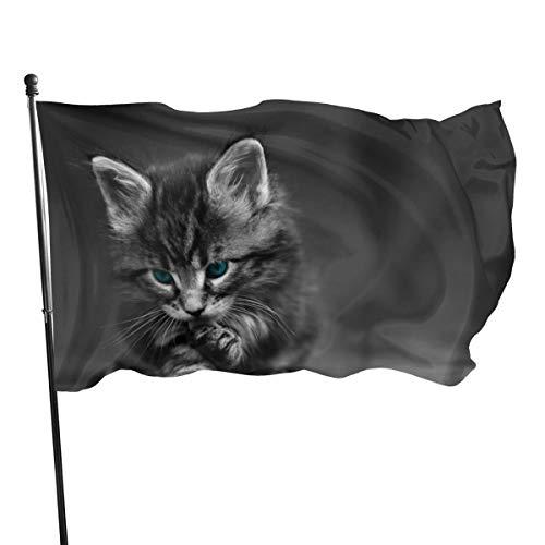 N/A American Guard Vlag Banner Home Vlaggen Katten Blauwe Ogen Dieren Kittens Selectieve Kleurplaten Verticale Garde voor Familie Patio College Decoratie 3x5 Voet