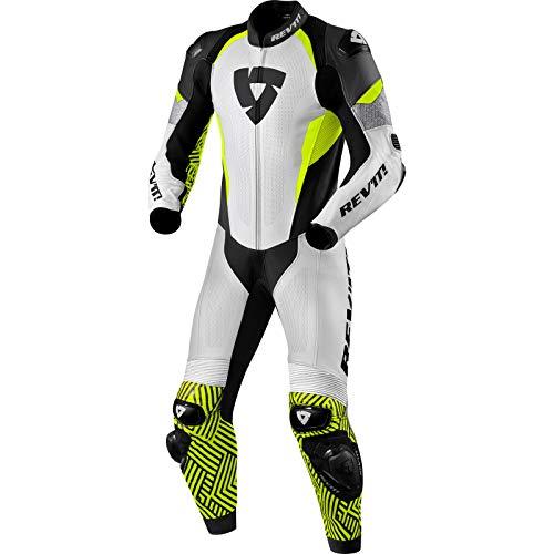 Revit Triton - Mono de piel para motocicleta, 1 pieza, color blanco, amarillo y negro, talla 48