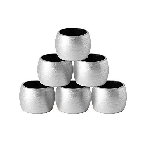 Argon Tableware 6 pièces métalliques Serviette Anneaux Set - Finition métallique - 4.5cm - Argent