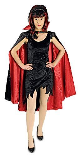 narrenkiste K31272536 - Capa de vampiro para hombre y mujer (110 cm de largo), color negro y rojo