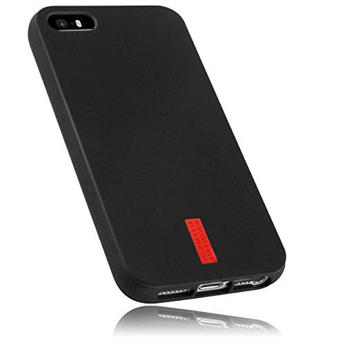mumbi Hülle kompatibel mit iPhone SE / 5 / 5S Handy Case Handyhülle, schwarz mit rotem Streifen