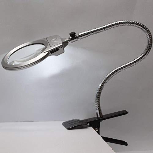 Allamp 2.5X 5X Nueva Lupa encendida con Clip de Mesa lámpara de Escritorio LED de Lectura Grande de la Lente de la Lupa con la Abrazadera para Lectura, Mantenimiento Electrónico, Inspecció
