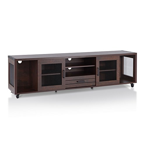 "ioHOMES Penderton Transitional One Drawer Rectangular TV Stand with 4 Open Shelves, 2-Door Cabinet and Caster Wheels, 70"", Vintage Walnut"