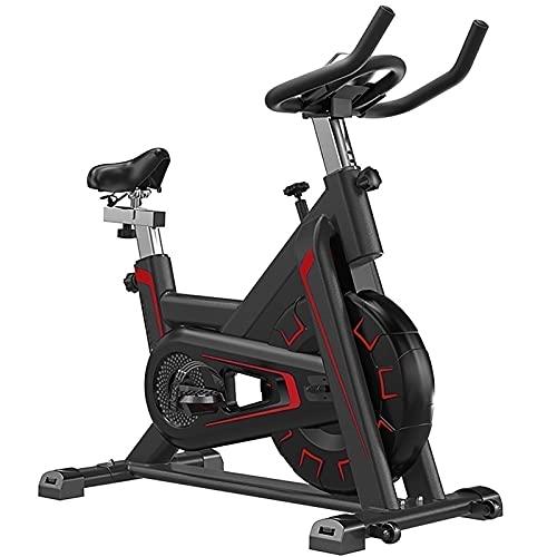 SKYWPOJU Bicicleta de Spinning Vertical para Ejercicio, Bicicleta de Interior con Consola LCD, cómodo cojín de Asiento para Entrenamiento Cardiovascular, Asiento y Manillar Ajustables (Color : Red)