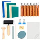 Rubber Stamp Making Kit, Linoleum Carving Tools with 2 Rubber Carving Blocks, 1 Whetstone, Craft Knife and Rice Paper for Printmaking, Linoleum Block, Brayer Rollers, Stamping Tools