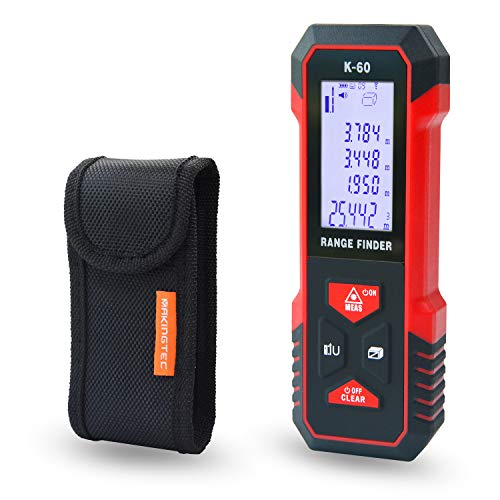 MAKINGTEC Laser Measure 196Ft M/Ft/In with Fraction Mode,Tape Measure Laser Measuring Device Large LCD Backlight Display, Pythagorean Mode Distance Measure Area and Volume Laser Distance Meter K-60