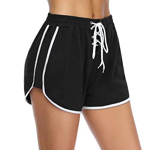 iClosam Short Femme Sport Sexy Bas de Pyjama Court Coton Short Sport Femme pour Gym Fitness Jogging Yoga ,Noir-sans Poches,M