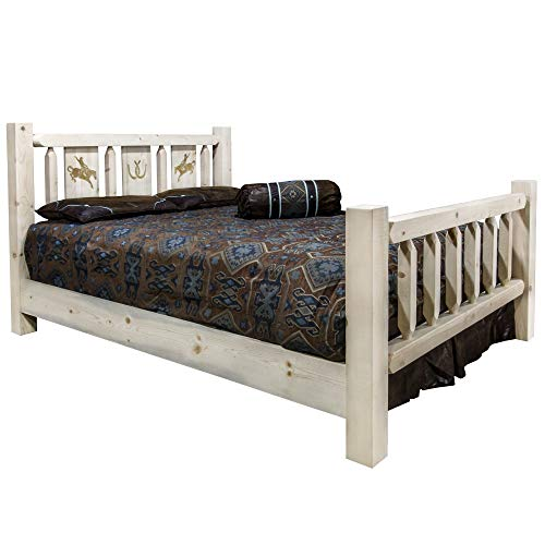 Lowest Prices! Montana Woodworks Bronc Design Laser Engraved Bed in Clear Lacquer (Full: 87 in. L x ...