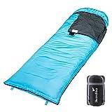 skandika Skye - Saco de Dormir Rectangular - 220x75 cm - acoplable - Peso 1.300 g - Bolsa de compresión (Azul/Izquierda)