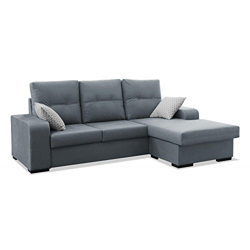 Mueble Sofa ChaiseLongue, MONTADO DE FABRICA, 3 plazas, Color Gris, cheslong Chaise Longue ref-69