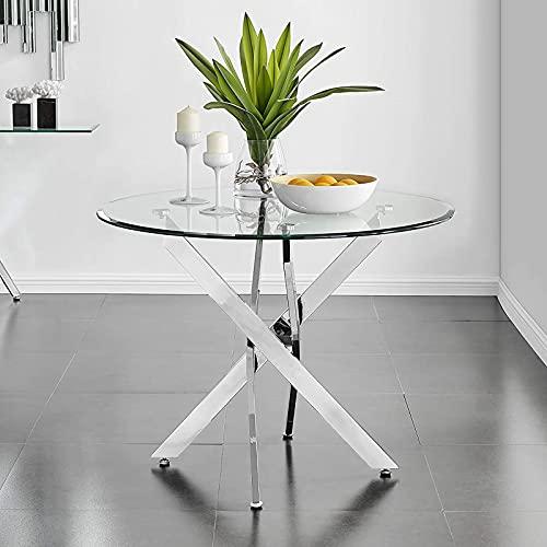 BODLRY Mesa de comedor redonda de cristal transparente, 90 cm, mesa de cocina con 4 patas de metal cromado y vidrio templado de seguridad de 8 mm, mesa de esquina para comedor, oficina, salón