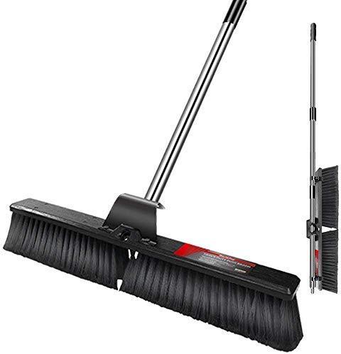 Masthome Großer Push Broom 63CM Außenbesen mit langem Griff für die Bodenreinigung, mehrflächige, steife Bürste