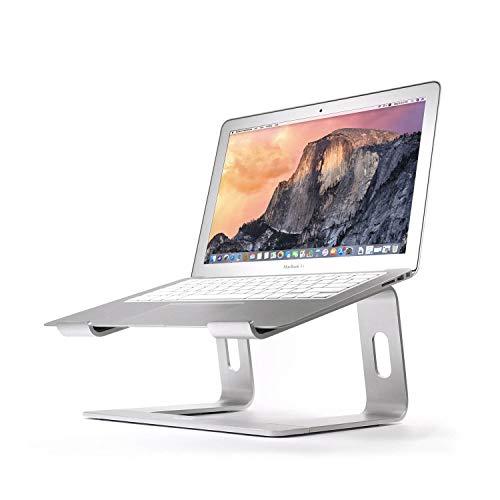 Laptop-Ständer, ergonomisch, belüftet, Aluminium, tragbar, kompatibel mit Laptops von 10 bis 17,3 Zoll (25,4 - 43.9 cm), MacBook Pro, alle Notebooks, Huawei Matebook, Lenovo, Samsung, HP, Dell, Silber