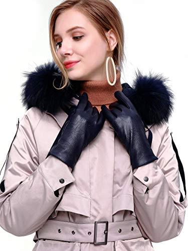 "YISEVEN Damen Touchscreen Lammfelll Lederhandschuhe mit Warm Wolle Gefüttert Winter Nappa Leder Autofahrer Handschuhe, Navy blau Klein/6.5\"""