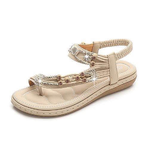 NOBRAND Zapatos de Mujer Grandes Sandalias Bohemias Sandalias con Cuentas de Diamantes de imitación Retro Sandalias de Fondo Plano de Cabeza Redonda Zapatos de Fondo Suave de tendón de Vaca