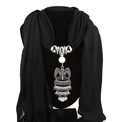 MYTJG Lady sjaal herfst sjaal vrouwen halsketting sjaals uil hanger sieraden kwasten sjaal winter dames sjaal