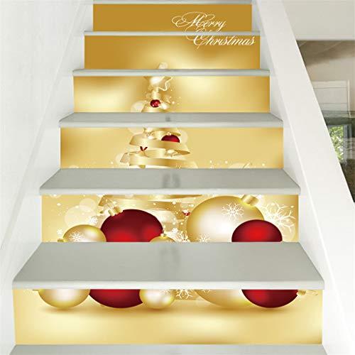 Hunpta @ 6 Stücke Exquisit Treppe Aufkleber Weihnachten Dekoration DIY Selbstklebende Wasserdichter 3D Treppenaufkleber Schritte Home Dekor, 100x18cm pro Stück