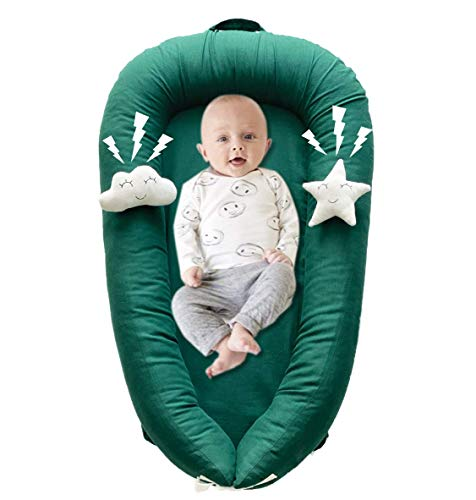 Portable Baby Lounger Nest with Plush Toys, Soft Newborn Lounger Perfect for Co-Sleeping, Cotton/Linen Infant Co Sleeper Bassinet Adjustable for Baby 0-18 Months (Jasper)