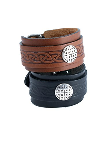 Biddy Murphy Jewelry Lee River Leather Men's Celtic Leather Bracelet Brown Cuff & Buckle Irish Made
