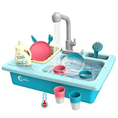 TEMPERATURE SENSING WASH-UP KITCHEN SINK SETS: ACCESSORIES will turn white when water is 33℃-42℃, color returns when it's cool. Kids can play with warm water and avoid catching cold CHILD-FRIENDLY WATER SINK TOYS FOR KIDS TO PLAY: ABS material, smoot...