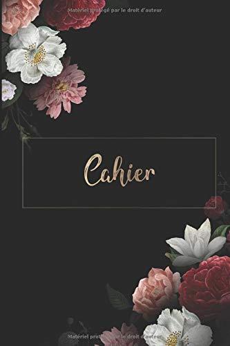 Cahier: DIN A5 / 15 x 23 cm - Pointé - 122 pages ou 61 feuilles - bloc note bullet journal cahier Noël noir avec des fleurs Fleurs Plante Aquarelle Aquarelle Or