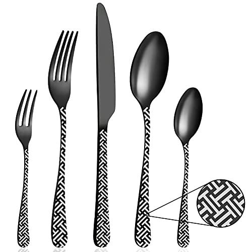 BEWOS Set di posate 30 pezzi in acciaio inox satinato nero opaco, set di posate con coltello, forchetta, cucchiaio, servizio per 6 persone, lavabile in lavastoviglie