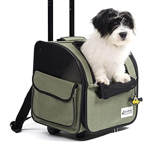 WILDEDEN ペットキャリーカート キャスター付き 猫キャリーバッグ 猫・小型犬用 4way キャリーカート 手提げ リュック 耐荷重10kg 6色 (グリーン)