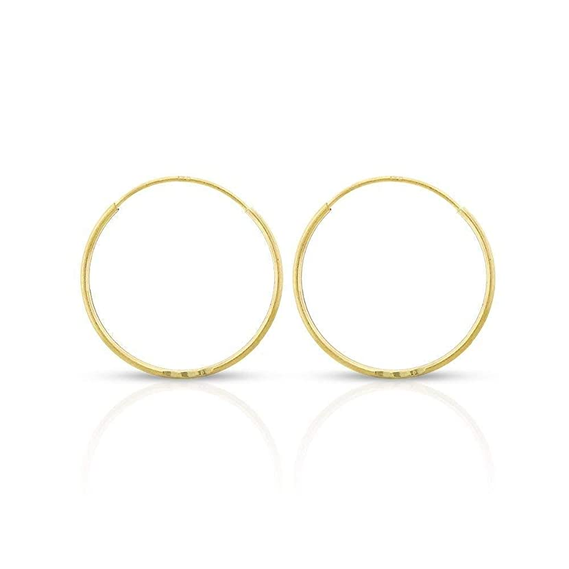 14k Yellow Gold Women's Endless Continuous Round Tube Hoop Earrings 1mm Thick 10mm - 20mm, Basic & Diamond-Cut