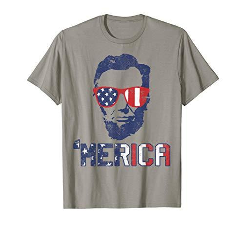 Abraham Lincoln T-Shirt USA Flag Tshirt 4th Of July Gift