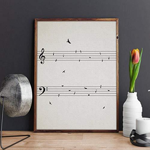 Terilizi noten met vogels vintage poster afdrukken muziek muurkunst afbeelding canvas schilderij muzieknoten ruimtedecoratie muziekleraar geschenk-30X40cm geen lijst