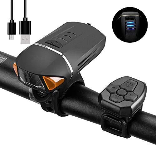 CBPE fietslamp, LED, koplicht, USB, oplaadbaar, 350 lm, krachtige verlichtingsset, met draadloze afstandsbediening, fietsalarm, waterdicht, meerdere modi voor fietsers, nachtritten, kamperen