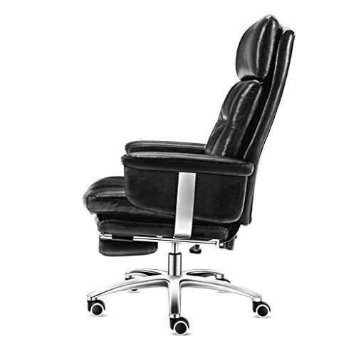 Afanyu Afanyu-Leder-Bürostuhl mit hoher Rückenlehne, ergonomischer Chefsessel, doppelt dickes Design, Höhenverstellung, hohe Tragfähigkeit (schwarz, braun),Schwarz