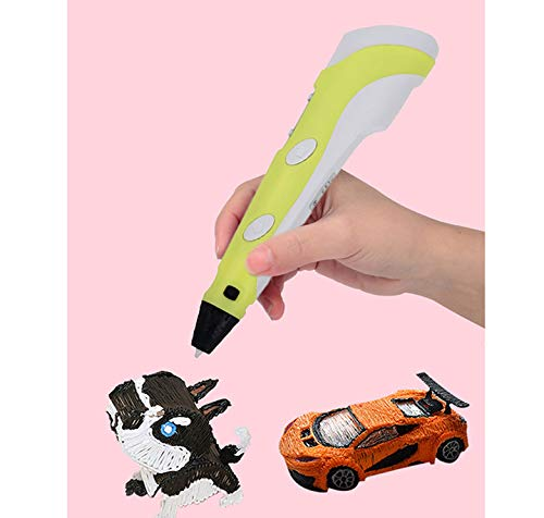 3D Printing Pen, Multicolor Child Safe Smart USB Low Temperature 3D Pen with LCD Screen for Little Girls, Boys (Yellow)