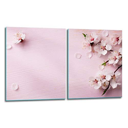 QTA - Juego de 2 cubiertas para vitrocerámica de 40 x 52 cm, cubierta de cristal antisalpicaduras, placa de vidrio para cubrir la vitrocerámica, tabla de cortar, diseño de flores